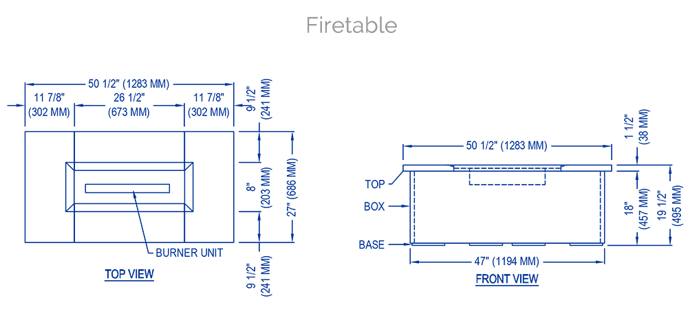 solus firetable technical drawing