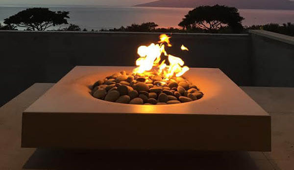 Solus Halo fire pit at Maui vacation home