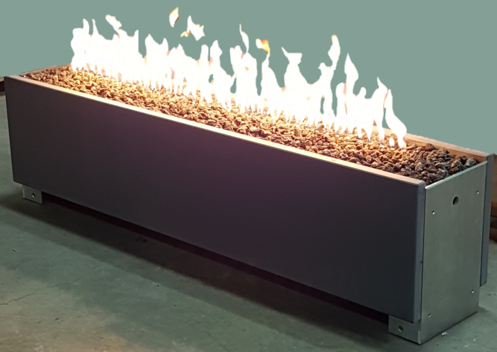 Solus Décor Linear Gas Firepit. Suitable for backyards or commercial spaces. Showcasing at HDExpo 2018. The new design is the result of the talented Solus team's dedication, vision and many man hours put in to produce an innovative and contemporary design. It is unmistakably Solus.