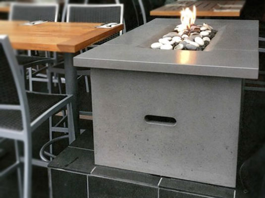 solus decor fire table fire pit in concrete for outdoor restaurants in England and UK