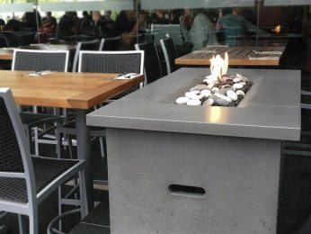 Firetable fire pit, lit at hotel
