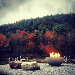 romantic outdoor fire pit - solus hemi firepit shown