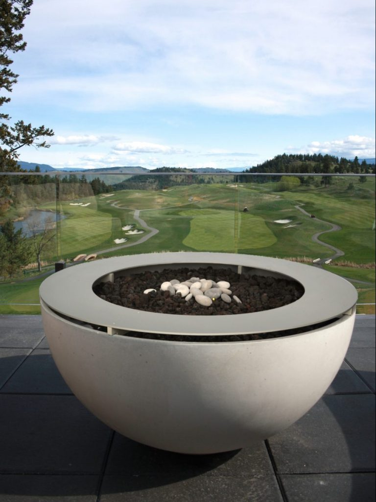 Solus Décor Hemi Gas Firebowl Firepit. With metal drinks ring. Also available as a metal table top. Shown on the terrace at Predator Ridge Resort Canada. Ideal when not used as a fire pit.