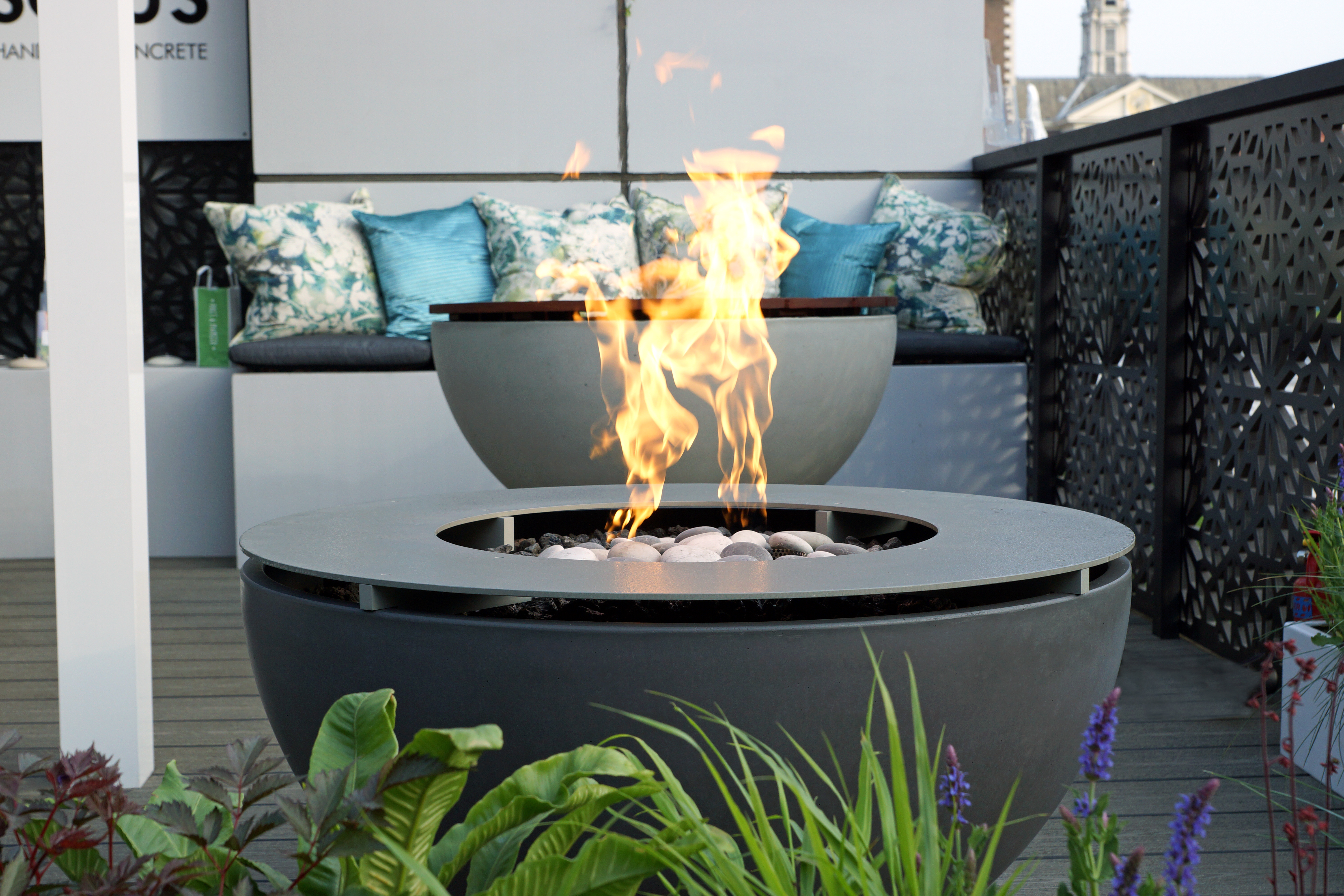 metal table top and fire ring
